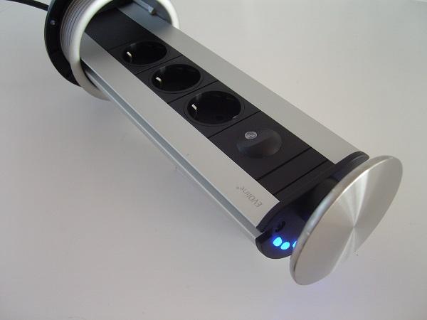 Image of   Evoline Powerport med LED lys m. rustfri stål top