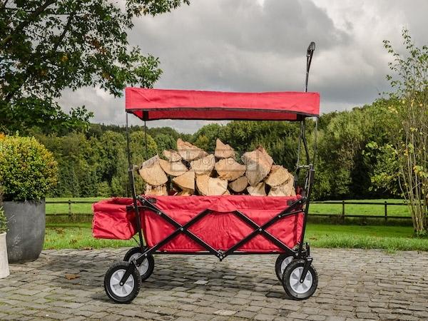 Foldbar Trækvogn med tag rød