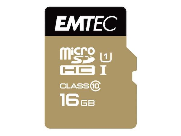 Image of   MicroSDHC 16GB EMTEC +Adapter CL10 Gold