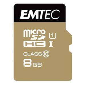 MicroSDHC 8GB EMTEC +Adapter CL10 Gol
