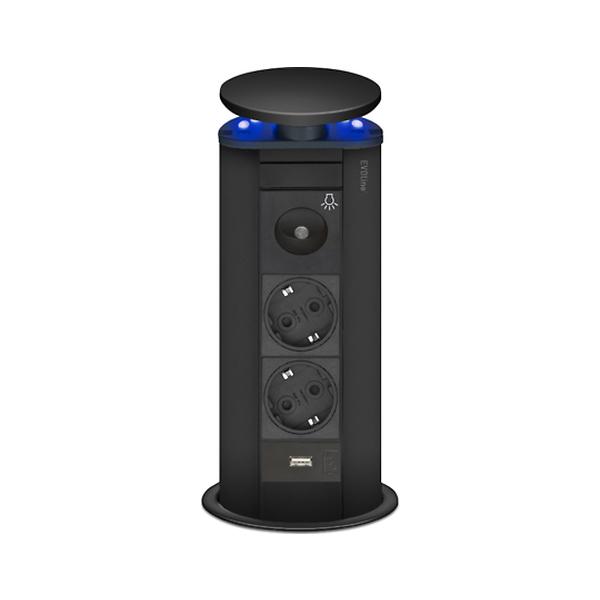 Image of   EVOline Powerport sort m 2 stik + 1 usb blåt lys