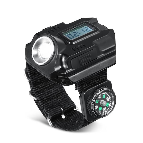 Image of   Kraftig håndleds Led lommelygte med ur og kompas