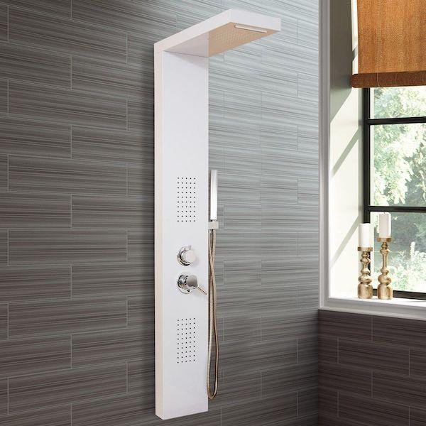 Image of   Brusepanel hvid lakeret med håndbruser og vandfald