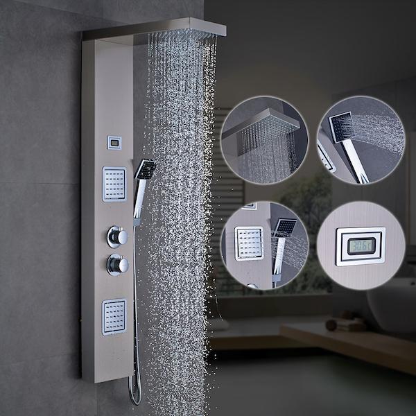 Brusepanel Rustfri med termostat og håndbruser
