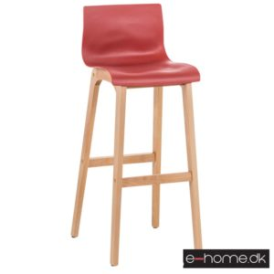 Barstol Hoover kunststof rød stel træ_101893205_e-home