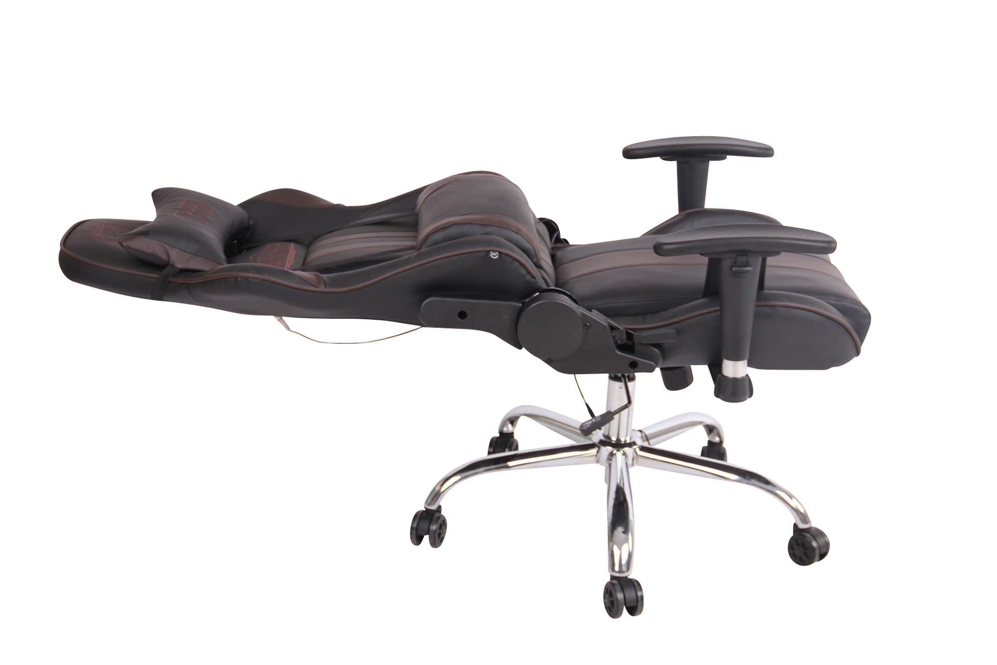 Gamerstol med massage Kunstlæder Brun Sort 136 kg