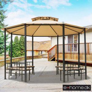Havepavillon - med bænk - beige - 84C-086 - e-home_TITEL